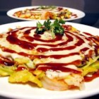 Japanese Okonomiyaki - Japanese style dinner 'pancake' integrating cabbage and meat for a delicious meal!