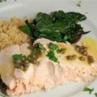 Pan-Poached Alaskan Salmon Piccata - This elegant dish of salmon filets poached in lemon juice and chicken bouillon, then topped with butter and capers, is a great way to impress your significant other. Serve over cooked fettuccine or on its own with steamed vegetables and rice.