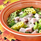 Leftover Ham And Noodles - There are no complaints about leftovers when you whip up this simple dish using ham, onions, and celery, flavored with a bit of garlic and cooked with yummy egg noodles. And you will have just one pot to wash!