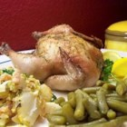 Lemon Leek Roasted Cornish Hens - This oh-so-simple recipe of lemon- and leek-stuffed Cornish hens allows the flavors to penetrate each wonderful bite.