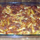 Pasta Bake - This quick and satisfying dish is an easy compilation of sauteed ground beef and onions mixed with mushrooms, spaghetti sauce, mozzarella and cooked mostaccoli. Bake it for a mere 20 minutes and serve!