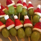 Grinch Kabobs - These little skewers that look like the Grinch are simple to make and a great addition to your appetizers at any Christmas party.