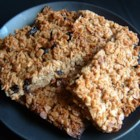 English Flapjack - An English recipe. Brown sugar and oat cakes with raisins. Very easy to make, and very delicious. Good for lunch-boxes too.