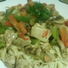 Chicken O'Neill - A Cajun stir fry of vegetables and chicken over linguine, with loads of garlic and a nice spicy kick.