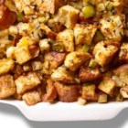 Easy Stuffing - The quantity provided in a box of stuffing mix is increased by the addition of eggs, and chunks of white bread in this recipe to stuff a 10 pound turkey.