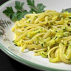 Zucchini Linguine - A tasty idea for lunch or dinner.  Grated zucchini sauteed with garlic and tossed with pasta, cheddar cheese and plain yogurt.
