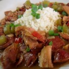 Gluten-Free Chicken and Sausage Gumbo - Chicken and sausage gumbo can be made gluten-free using millet flour to make the roux; serve over buttery rice.