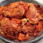 Rustic Italian Chicken - Savory chicken thighs are slow cooked to perfection along with fresh vegetables and Italian seasoning.  A simple recipe that requires little effort or time in the morning, ready and waiting for you when you come home after a long day.