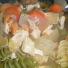 Chicken Rotini Soup - Rotini shaped pasta is used in this chicken noodle soup with celery, carrots and an abundance of chicken meat.