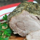 Pork Roast with Herb Rub - Savory pork roast with a herb rub and a drizzle of honey is cooked in a slow-cooker for a delicious weeknight meal the whole family will enjoy.
