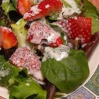 Strawberry Romaine Salad I - For my wedding shower everyone brought a few recipes and this is one of my favorites. It is refreshing and pretty. This salad also travels well, just save the dressing and use it just before serving.