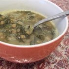 Syrian-Style Lentil and Spinach Soup - In this Syrian-inspired soup, dried green lentils are cooked with spinach then finished with lemon juice for a quick warming meal.