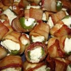 Jalapeno Poppers of Champions - Jalapeno pepper halves are filled with cream cheese, wrapped with meatless bacon strips and baked to delicious football-lovin' perfection!