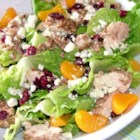 Pecan Crusted Chicken Salad - Juicy, warm chicken breasts baked in a crunchy pecan and garlic flavored coating sit on a bed of crisp romaine lettuce. Dried cranberries and mandarin oranges add a sweetness that is balanced by the tanginess of crumbled blue cheese. Ranch dressing ties the dish together to make a wonderfully light, filling salad.