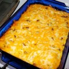 Egg and Sausage Casserole - A simple but delicious egg casserole flavored with cheese and oregano.