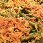 Green Bean and Canadian Bacon Casserole - Green beans, onion and Canadian bacon are baked in a creamy sauce and topped with bread crumbs for a delicious family supper.