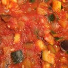 Back-Burner Ratatouille - A comforting tomato, zucchini, and eggplant stew with the flavors of southern France makes a great side dish to serve hot or as a nice lunch served cold with cottage cheese.