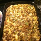Turkey and Stuffing Casserole - Seasoned stuffing and turkey breast are combined with cream soup and baked in a casserole dish.