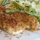 Golden Chicken Tenders -  Just top chicken tenderloins with melted butter and stuffing mix for the easiest chicken you will ever bake.