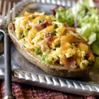 Egg Stuffed Taters - Bacon, eggs and potatoes all-in-one in this delicious stuffed potato! Enjoy for breakfast or lunch with a fruit or green salad.