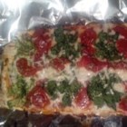 "Rainbow Vegetable Pizza - Broccoli, tomatoes, bell peppers, eggplant, and spinach are arranged on a flatbread crust creating a ""rainbow pizza"" full of flavor and color."