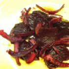 Roasted and Pickled Beets - Roasted and pickled beets with onion is a sweet and sour salad to serve on summer evenings.