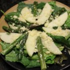 Roasted Asparagus and Apple Salad - Roasted asparagus, sharp white Cheddar cheese, and sliced apple top salad greens in this tasty salad recipe.