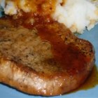 Apple Cider Sauce and Pork Loin Chops - Seasoned pork loin chops baked with apple cider and Worcestershire sauce and finished with sherry make even the pickiest eaters say, 'Wow!' Serve with mashed potatoes.