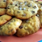 Giant Chocolate Chip Cookies - Hamburger-size semisweet chocolate chip cookies with walnuts.