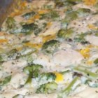 Broccoli Chicken Casserole IV - Broccoli and chicken mixed with creamy mushroom soup, Jack cheese, green onion and light spices.
