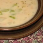 Clam Chowder Canadian Military Style - Canned clams and evaporated milk are added to a roux in this thick chowder with potatoes and dried thyme.