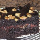 Chocolate Caramel Nut  Cake - Easy to make chocolate cake with a gooey caramel center, almost like a candy bar.