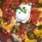Lisa's Italian Nachos - These tortilla chips are first topped with an Italian-style sauce, pepperoni and Italian sausage. Then the nachos are garnished with feta cheese onions, black olives, and sour cream. Yum.....
