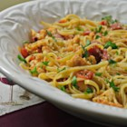 The Fridge Scavenger's Tomato and Cauliflower Pasta - Pasta is topped with a lightly seasoned cauliflower and tomato sauce for a fancy meal using ingredients you may already have on hand.