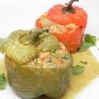 Chorizo-Stuffed Peppers with Green Chile Ranchero Sauce - If you need to know more than 'chorizo-and-bacon,' can I just say 'bacon'? How about 'roasted Anaheim chile peppers'?
