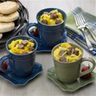 Wake Up Cups - A complete breakfast in a coffee mug, this sausage, hash browns, egg and cheese combo is ready to eat in less than 10 minutes.
