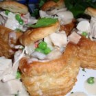 Turkey a la King - Turkey, peas and mushrooms in a creamy sauce to serve over puff-pastry boats, biscuits, toast or rice.