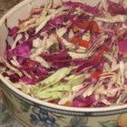 Colorful Coleslaw with a Kick - Red and green cabbage are mixed with colorful vegetables, and tossed with a spicy lime dressing. Brightens up any picnic or backyard bbq and goes with everything you throw on the grill.
