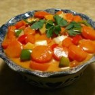 Aunt Dorothy's Marinated Carrot Salad - This has been a family favorite for years. The key to this recipe is not overcooking the carrots and allowing the entire salad to marinate for at least 12 hours. For a spectacular presentation when serving, garnish the top with rings of each color of bell pepper and rings of onion.  Serve alone or over a bed of lettuce.