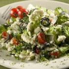 Greek Veggie Salad - Now this salad touts broccoli and cauliflower, as well as tomatoes and olives, and a tomato/basil feta. A zesty Italian dressing finishes it beautifully.