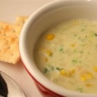 Crabmeat and Corn Soup - A rich chowder made with white kernel corn, fresh cracked crab meat, and green onions in a soup base of whole milk and half-and-half.