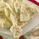 Peppermint Brittle - Peppermint candies are crushed and then stirred into melted white chocolate.  The mixture is spread into a pan, and allowed to chill until hardened.