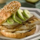 Summer Chicken Burgers - Mouthwatering sandwiches of grilled chicken, caramelized onion, provolone and avocado, on a toasted bun.