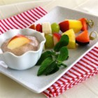 Fruit Skewers with Apple Cinnamon Dipping Sauce - Make breakfast or a snack just a little special by serving this healthy yogurt dipping sauce with fresh fruit skewers.