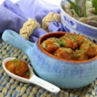 Cocktail Turkey Meatballs - Savory turkey cocktail meatballs pair perfectly with a sweet and savory apple-mustard sauce in this crowd-pleasing appetizer.