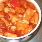 Strawberry Pineapple Chicken Bites - Chunks of chicken and pineapple are cooked in a sweet, spicy sauce. Serve with toothpicks.