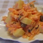 Carrot and Raisin Salad I - Make a big batch of this terrific salad, because it will go fast. Shredded carrots, diced celery, a scoop of raisins, and mayonnaise with a dash of vinegar.
