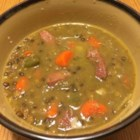 Leslie's Ham Lentil Soup - A ham bone left over from a previous meal gets a second chance when simmered with lentils and vegetables to make a hearty soup in less than an hour.