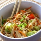 Asian Pasta Salad with Beef, Broccoli and Bean Sprouts - A creamy Asian dressing nicely compliments this pasta salad with broccoli, red pepper, bean sprouts, and peanuts.