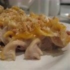 Tuna Noodle Casserole IV - Tuna and pasta casserole with Cheddar cheese and crushed crouton topping.